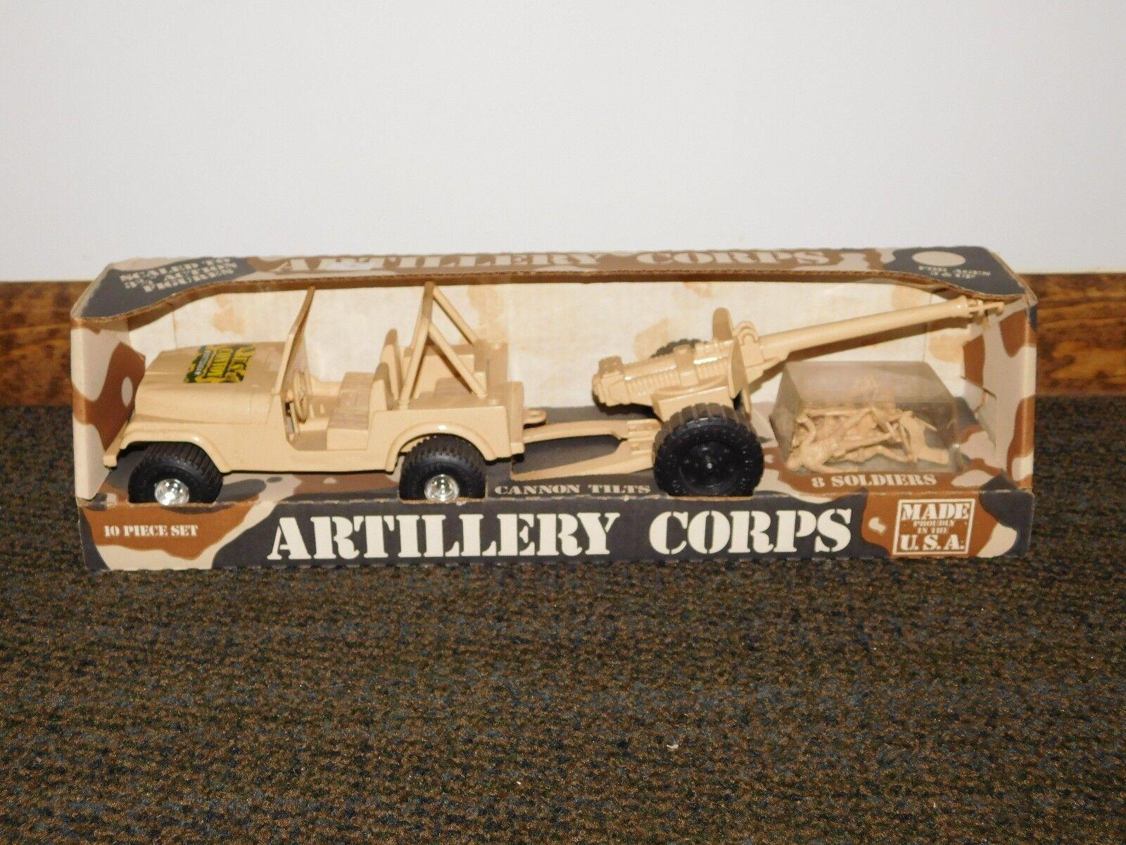 Vintage Tim Mee Toy artillería Corps Jeep cañón en Caja Nuevo Viejo Stock