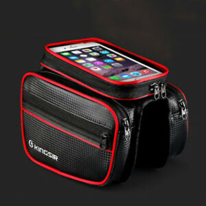 Cycling-Bike-Bicycle-Bag-Top-Front-Frame-Panniers-Tube-Double-Pouch-Phone-Holder