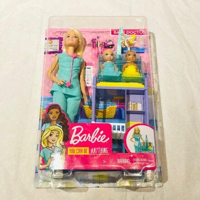Barbie Careers Baby Doctor Playset, Nurse Doll, Nursing Babies, Exam Table, Girl