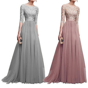 Image Is Loading Women Vintage Lace Long Maxi Dress Tail Evening