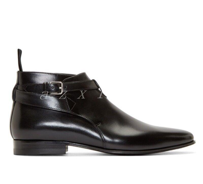 Para hombres Cuero Gamuza Puntera En Punta Oxford Hebillas Correas Cruzadas botas al Tobillo Zapatos Talla