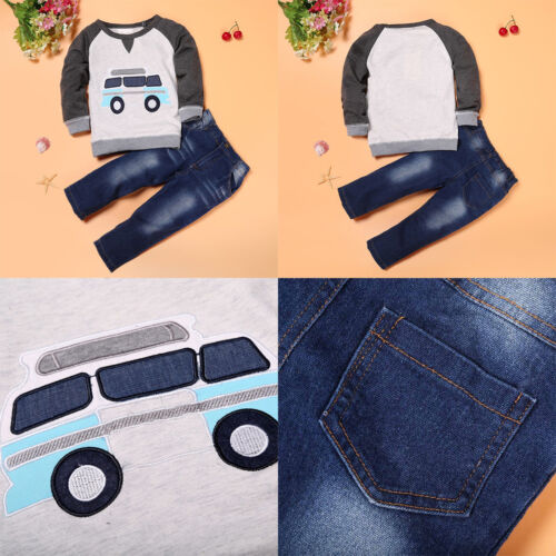 2-7Y Toddler Kid Boys Cotton T-shirt Tops+Long Jeans Trousers Outfit Clothes Set