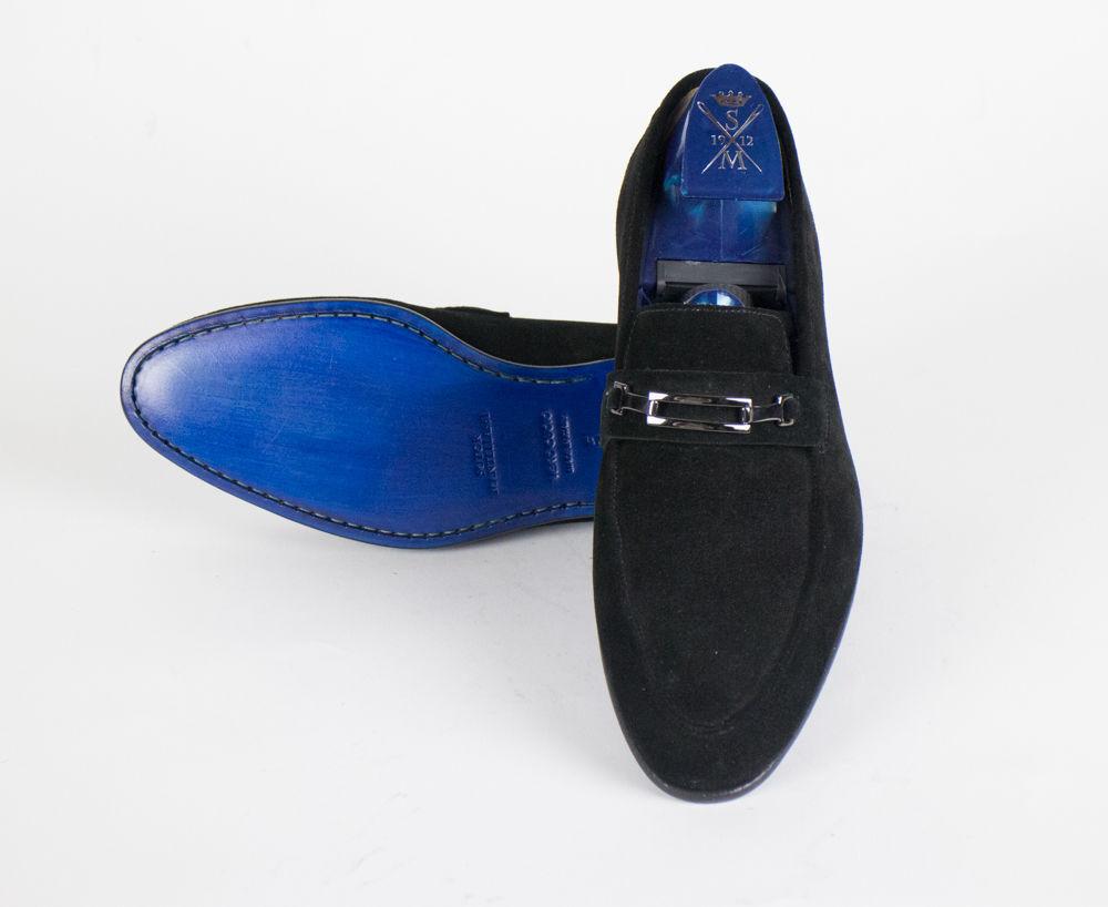 Nuevos Mocasines Cuero Gamuza Negra SUTOR MANTELLASSI zapatos US