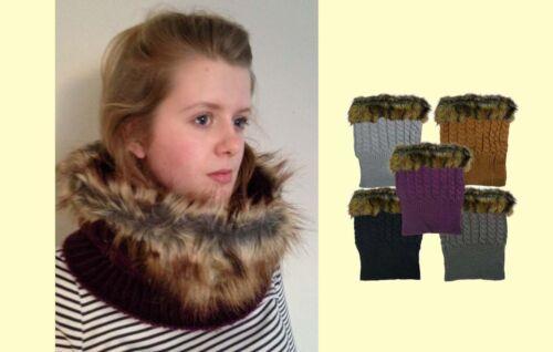 Donna In Finta Pelliccia Sciarpa Loop basso di lenza Inverno Sciarpa Scialle Cavo Knitt basso di LENZA Gioco