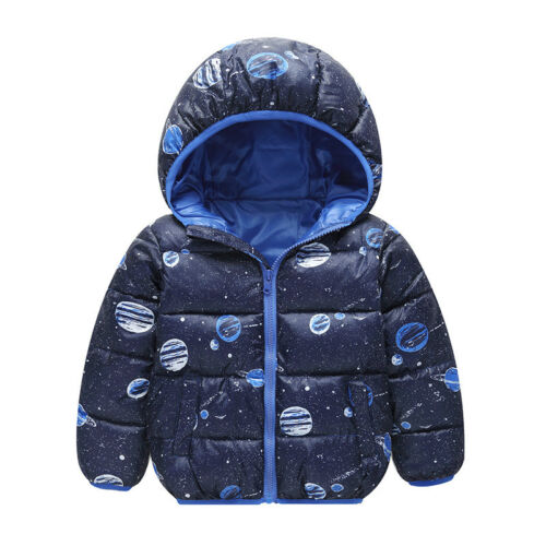 Girls Kids Hoody Padded Quilted Jacket Winter Warm Coat Hooded Parka Coat 2-8Yrs