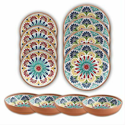 Beducht Epicurean Rio Medallion Outdoor/camping-12 Piece Melamine Dinnerware - Set For 4
