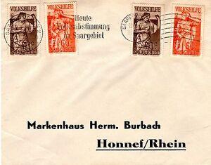 1934 Saar Scott B54(x2) & B55(x2) on cover Saarbrucken (1/13/35) to Honnef