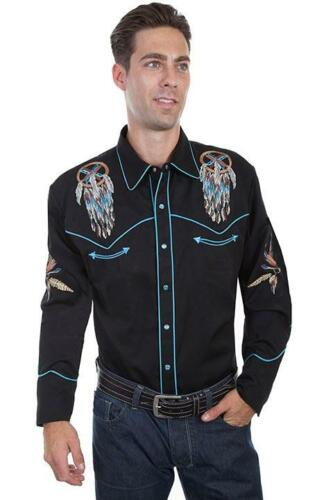 """Scully Western Mens Shirt Long Sleeve Embroidery /""""Dream Catcher/"""" Black P-868"""