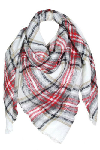 Womens Warm Comfortable Cozy Blanket Plaid Checkered Scarf Wrap Shawl Cover Up