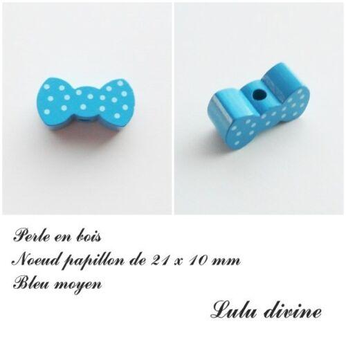 Perle en bois de 21 x 10 mm Bleu moyen Perle plate Noeud papillon