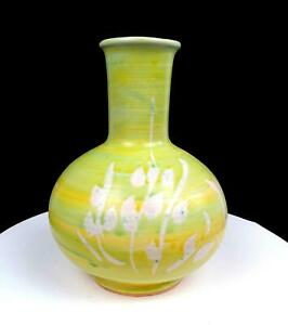 """BENNETT WELSH SIGNED PACIFIC STONEWARE GREEN AND YELLOW PLANT MOTIF 9 1/4"""" VASE"""