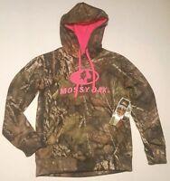 Womens Mossy Oak Camo Break-up Med. Pink Embroidered Logo Hoodie Sweatshirt