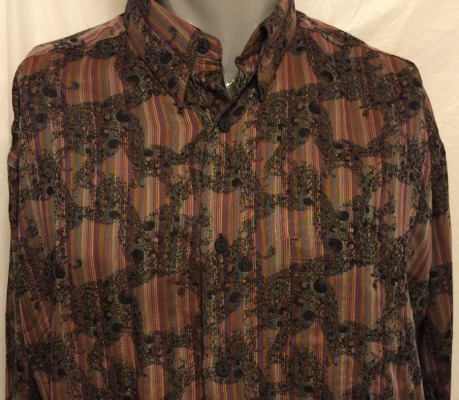 VTG Jhane Barnes Multi-color Striped Pattern Shirt Size Medium Club Party Social