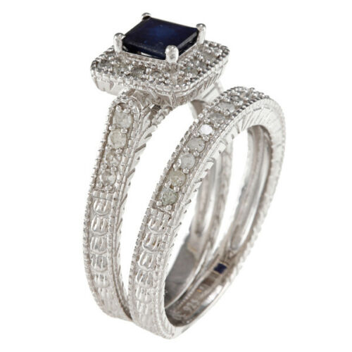 Sterling Silver 1.50ct Genuine Sapphire and Diamond Engagement Ring Set