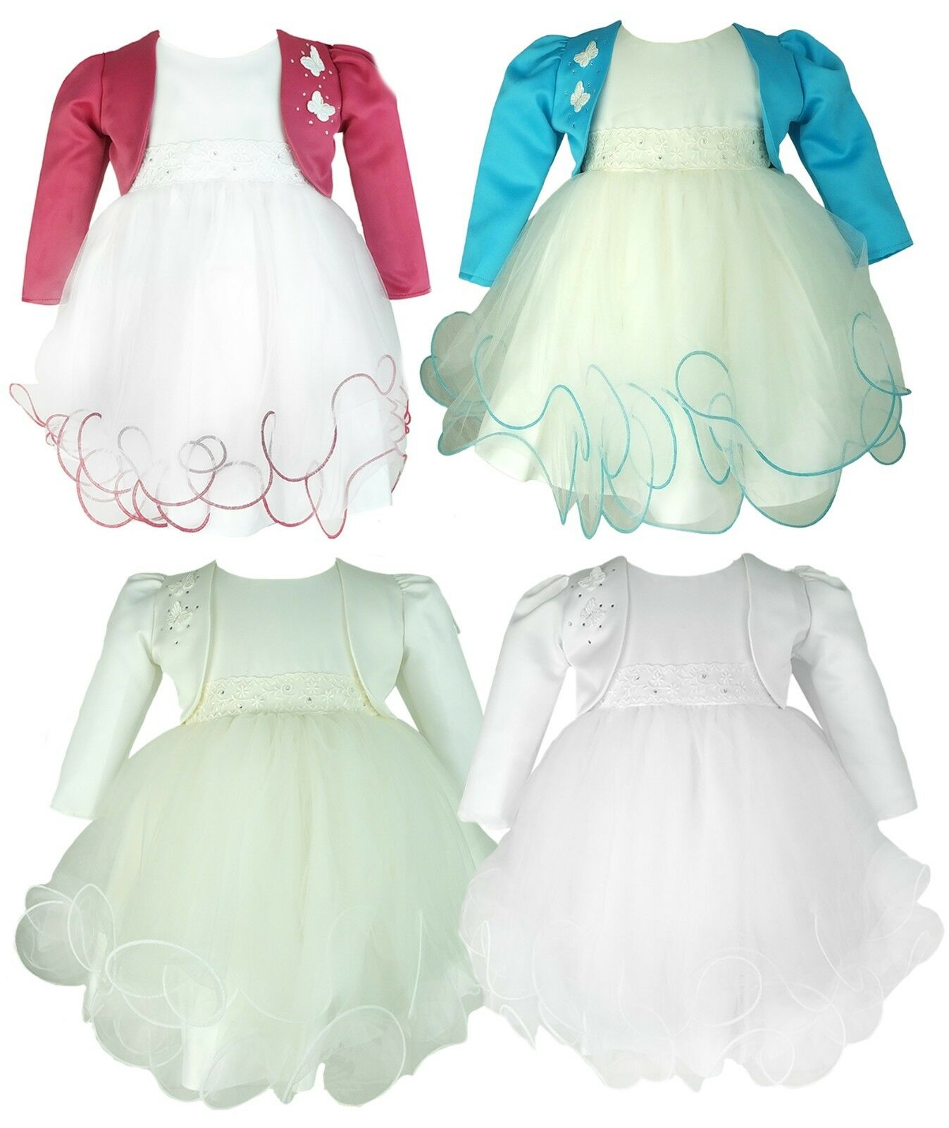 44c8fdcf6039e Baby Girls Butterfly Bolero Jacket Dress Christening Baptism Wedding ...