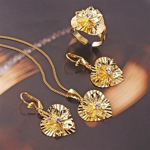 S-133 18KYellow Gold Filled CZ Necklace//Pendant//Earrings//Ring Set