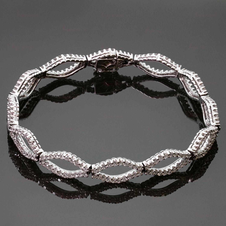 18k White gold Diamond Marquise Link Bracelet