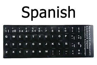 SPANISH KEYBOARD STICKER WITH YELLOW LETTERING TRANSPARENT BACKGROUND LATIN AMERICAN