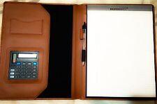 LARGE PORTFOLIO Binder w/ Calculator, Business Card & Pen Holder & Paper Tablet