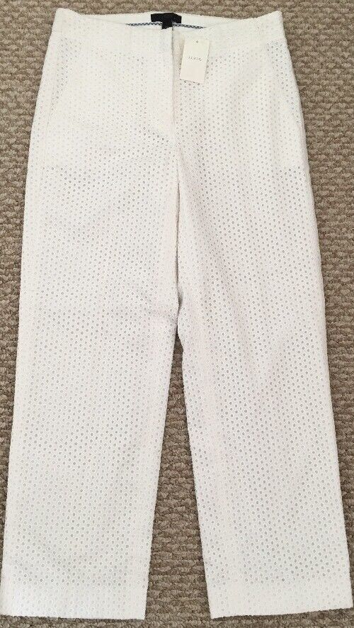 NEW JCREW  110 PATIO PANT IN EYELET Size00 In White F1570