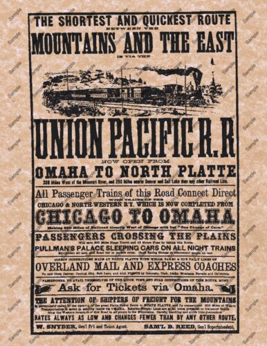 UNION PACIFIC RAILROAD TRAIN OLD WEST POSTER WESTERN DECOR PICTURE 001