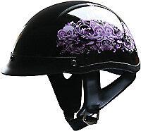 HCI Half Helmet W// Visor Purple Flowers Black XS HCI-100 Scooter Motorcycle Z2