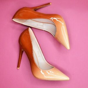 eab9f7586f Details about Nude Beige Ombre Pointed Toe Shoes Patent Stiletto Heels  Classy Office High Heel