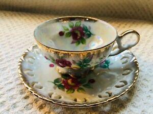 Vintage Japan Porcelain Cup /& Saucer| Set of 2 Excellent Condition white gold brown Bamboo Design