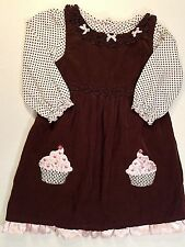 Youngland-Girls Size 5T-Embroidered Hearts-Cupcake-Corduroy Summer Jumper Dress