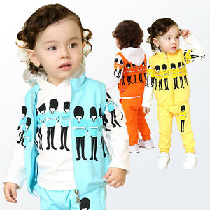 Toddler Boy 3PC Outfit Sets Sport Style Soldie Hoodie Gilet Pants Size1-4 years