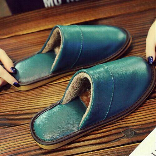 Herren Damen Warme Hausschuhe Baumwolle ohne Bügel Schuhe Flach Rindsleder Weich