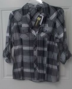 Womens-White-Black-Passport-Button-Down-Shirt-Roll-Tab-Sleeve-Juniors-Size-M-NWT