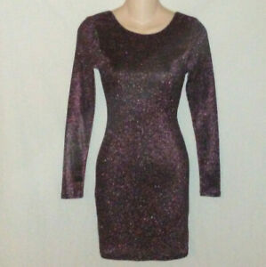 Divided-H-amp-M-4-NWT-Pink-Black-Metallic-Bodycon-Dress-Glam-Rock-Rocker-Clubwear