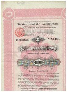 Priv. öst.-ungarische Staats-Eisenbahn-Ges., Wien 1895, 10.000 Mark, gelocht/ Ku