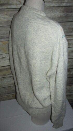 Mønster Wool Sweater Langærmet Beige 100 Crew Vntg Sz Virgin Xl Neck Diamant XqEwzU7