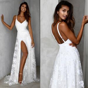 Front-Split-Bride-Wedding-Dress-Spaghetti-Straps-V-Neck-Lace-Applique-Boho-Gown