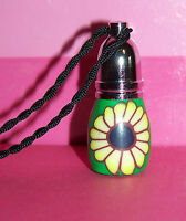 Polymer Clay Flower Perfume Bottle Necklace Empty