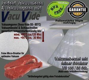 """/""""VacuVide/"""" für alle Vakuumierer 50 Vakuumbeutel 10x30cm Feine Struktur"""