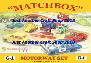 Matchbox-Toys-autopista-G-1-Set-A4-tamano-PoSTER-PANTALLA-LETRERO-Folleto-de-tienda-de-la-obra-de