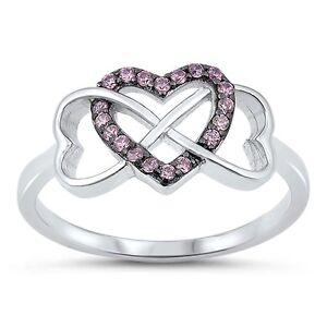 Women/'s Heart Pink CZ Halo Fashion Ring New .925 Sterling Silver Band Sizes 4-10