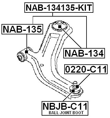 Suspension Control Arm Bushing Front Rear Febest Nab 134