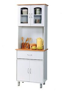 Image Is Loading White Tall Microwave Cabinet Stand Hutch Pantry Cart