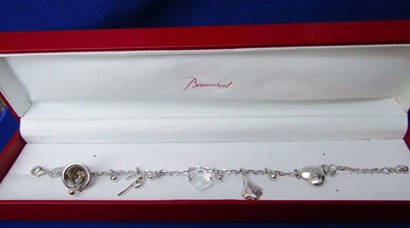 argentoo argentoo argentoo Sterling Cristallo Baccarat sentito Multi Ciondolo Braccialetto Design SCATOLA ORIGINALE f1608d
