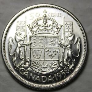 Canada-1958-Dot-Variety-Silver-50-Cents-High-EF-AU-Grade