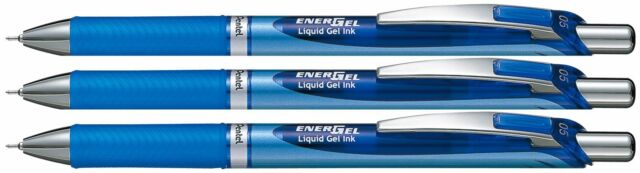 3 X Pentel EnerGel RTX Retractable Gel Roller Ball Pen 0.5mm BLN75 Blue Color