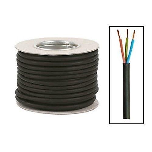 50m POND CABLE 0.75mm BLACK 6A RUBBER FLEX 240v 3 Core Round H05RN-F Wire 3183P