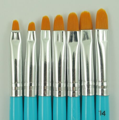 7 x Pinsel im Set, Gel und Acrylpinsel Set, Flachpinsel, Türkis, Nr. NPS-12