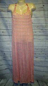 NWT-Hem-amp-Thread-S-Long-Maxi-Dress-Sun-Orange-Cream-Stripe-Sheer-Linen