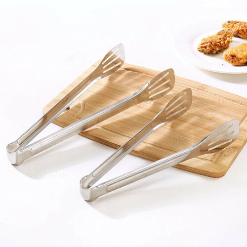 Stainless Steel AntiHeat Bread Food Buffet BBQ Tongs Pastry Clamp Clip Kitchen