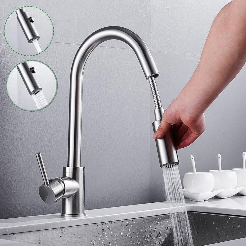 360° Küchenarmatur Ausziehbare Spültischarmatur Wasserhahn Mischbatterie Chrom